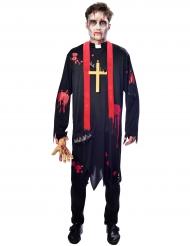 Zombiehaftes-Priester Herrenkostüm Halloween-Verkleidung schwarz-rot