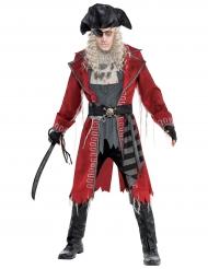 Zombie Pirat Halloween Kostüm für Herren grau-rot