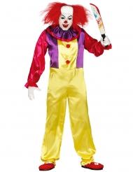 Mörderischer Clown Halloween-Kostüm für Herren bunt