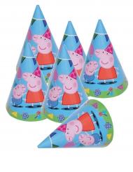 Peppa Wutz™-Partyhüte Kindergeburtstag bunt 6 Stück 16x11cm