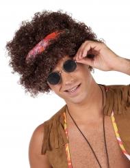 Hippie Afro Perücke für Erwachsene braunhaarig