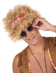 Hippie Afro Perücke für Erwachsene mit Haarband blond