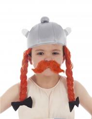 Obelix™-Lizenzartikel Helm Kostümzubehör für Kinder grau-orange