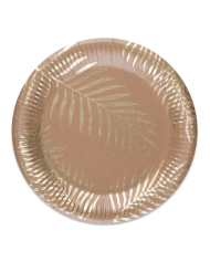Stilvolle Pappteller mit Palmen Tischdekoration 8 Stück rosegold 23cm