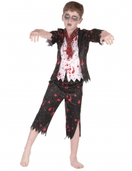 Zombiehaftes Schüler-Kostüm für Jungen Halloween schwarz-weiss-rot
