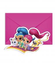 Shimmer und Shine™ Einladungskarten mit Umschlägen 14x9cm pink