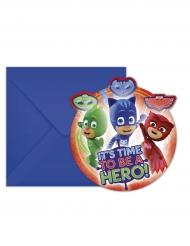 6 PJ Masks™ Einladungskarten Kindergeburtstag 14 x 9 cm
