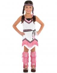 Indianer Kostüm für Mädchen weiß-rosa