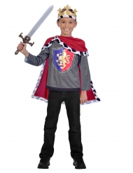 Königs-Kostüm für Jungen grau-rot-gold