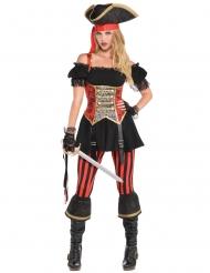Stilvolles Piratenkostüm für Damen Seeräuberin schwarz-rot-gold