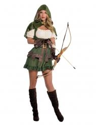 Tapferes Bogenschützin-Kostüm für Damen grün-beige-braun