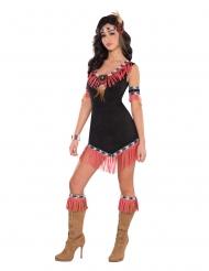 Heiße Indianerin Damenkostüm sexy schwarz-rosa