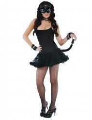 Kostüm-Set Katze für Damen tierisches-Zubehör schwarz