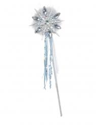 Zauberstab für eine Eisprinzessin Zubehör für Karneval silber-weiss