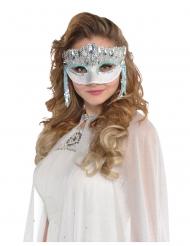 Festliche Augenmaske für Damen Partyzubehör silber-blau