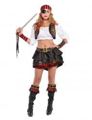 Verführerisches Piraten-Set für Damen braun-schwarz-rot