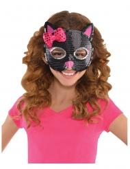 Katzen-Maske mit Pailletten für Kinder schwarz-pink