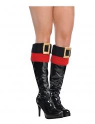 Weihnachtliche-Stiefelstulpen kurz für Damen Kostümzubehör schwarz-rot-gold