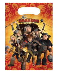 Dragons™-Kunststoff-Beutel Kindergeburtstag 6 Stück bunt 23x16,5cm