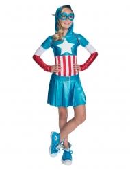 Captain America™-Mädchenkostüm Lizenz Superheldin blau-weiss-rot