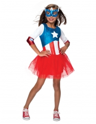 Captain America™-Mädchenkostüm Lizenz-Verkleidung rot-blau-weiss