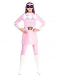 Power Rangers™-Damenkostüm Lizenz-Verkleidung rosa-weiss