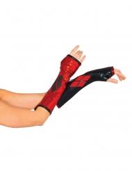 Armstulpen Harley Quinn™ für Damen schwarz-rot