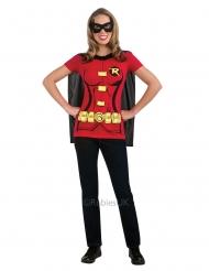 Robin™-T-Shirt mit Umhang und Maske Lizenzartikel für Damen rot-schwarz