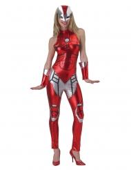 Iron Girl™-Damenkostüm Lizenzartikel rot-silber
