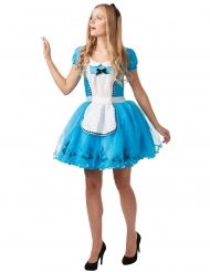 Alice im Wunderland™-Lizenzkostüm für Damen Märchen türkis-weiss