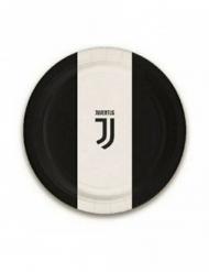 Juventus™-Pappteller 8 Stück schwarz-weiss 18cm