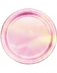 Pappteller-Tischdekoration Metallic 8 Stück rosa 23cm