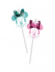 Minnie Maus™-Strohhalme Tischzubehör Kindergeburtstag 6 Stück grün-rosa