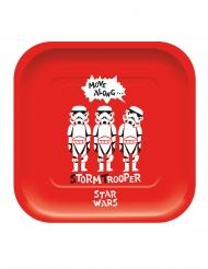 Star Wars™-rechteckige Pappteller Tischzubehör 4 Stück bunt 24x24cm