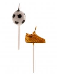 Fußball-Kuchendeko Schuh- und Ball-Kerzen 6-teilig 3-5 cm