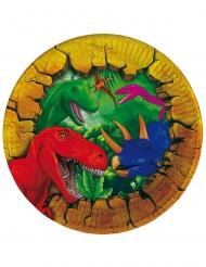 Pappteller Dinosaurier Tischzubehör für Partys 6 Stück bunt 18cm