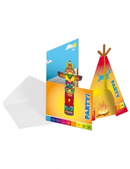 Indianer-Einladungskarten Partyzubehör 16-teilig bunt 12x22cm