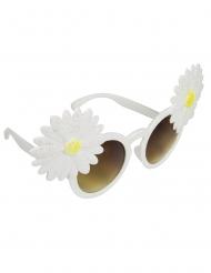 Hippie Brille mit Blumen Kostüm-Accessoire weiss-gelb