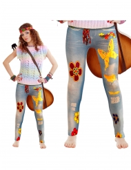 Hippie Jeggings für Damen Flower Power