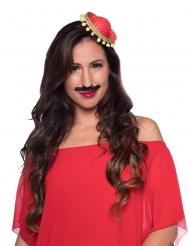 Miniatur-Hut Sombrero Kostüm-Accessoire für Damen rot-grün