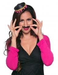 Miniatur-Sombrero Kostüm-Zubehör für Halloween schwarz-gold-pink