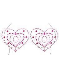 Herzform-Körperschmuck Dekolleté-Strasssteine pink