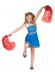 Cheerleader-Kostüm für Mädchen Pom Pom-Girl blau-weiss