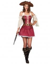 Piratin der Weltmeere Damenkostüm rot-braun-weiss