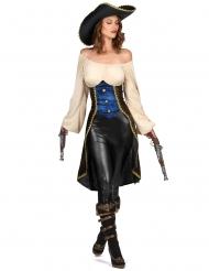Stilvolles Piraten-Kostüm für Damen Seeräuberin bunt