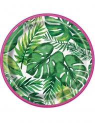 Pappteller tropische Palmenblätter 18cm 8-teilig grün