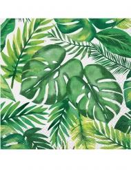 Palmen und Blätter Servietten tropisches-Tischzubehör 16 Stück grün-weiss 33x33cm