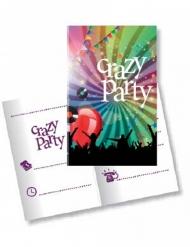 Crazy Party Einladungskarten Disco 10 Stück 11x22cm