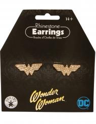 Wonder Woman™-Ohrringe mit Strass Kostümzubehör gold