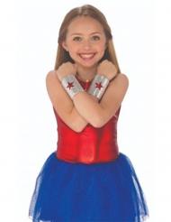Wonder Woman™-Armbänder für Kinder Kostümzubehör silber-rot